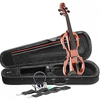 Stagg Shaped Electric Violin Outfit, Brown