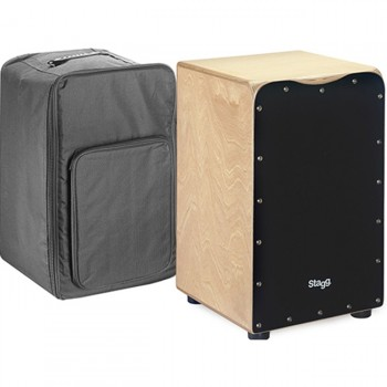 Stagg Medium-Sized Birch Cajon - Black finish Front Board