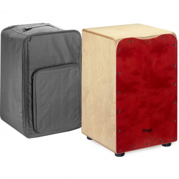 Stagg Medium-Sized Birch Cajon -Red finish Front Board