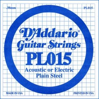 D'Addario PL015 Plain Steel Ball End .015 in. (.38 mm) Single String