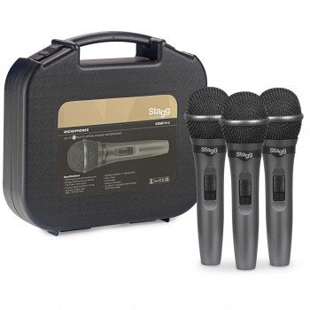 Stagg SDMP15-3 Set of 3 Live Stage Dynamic Microphones
