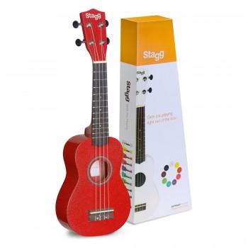 Stagg Soprano Ukulele with nylon gigbag-Red